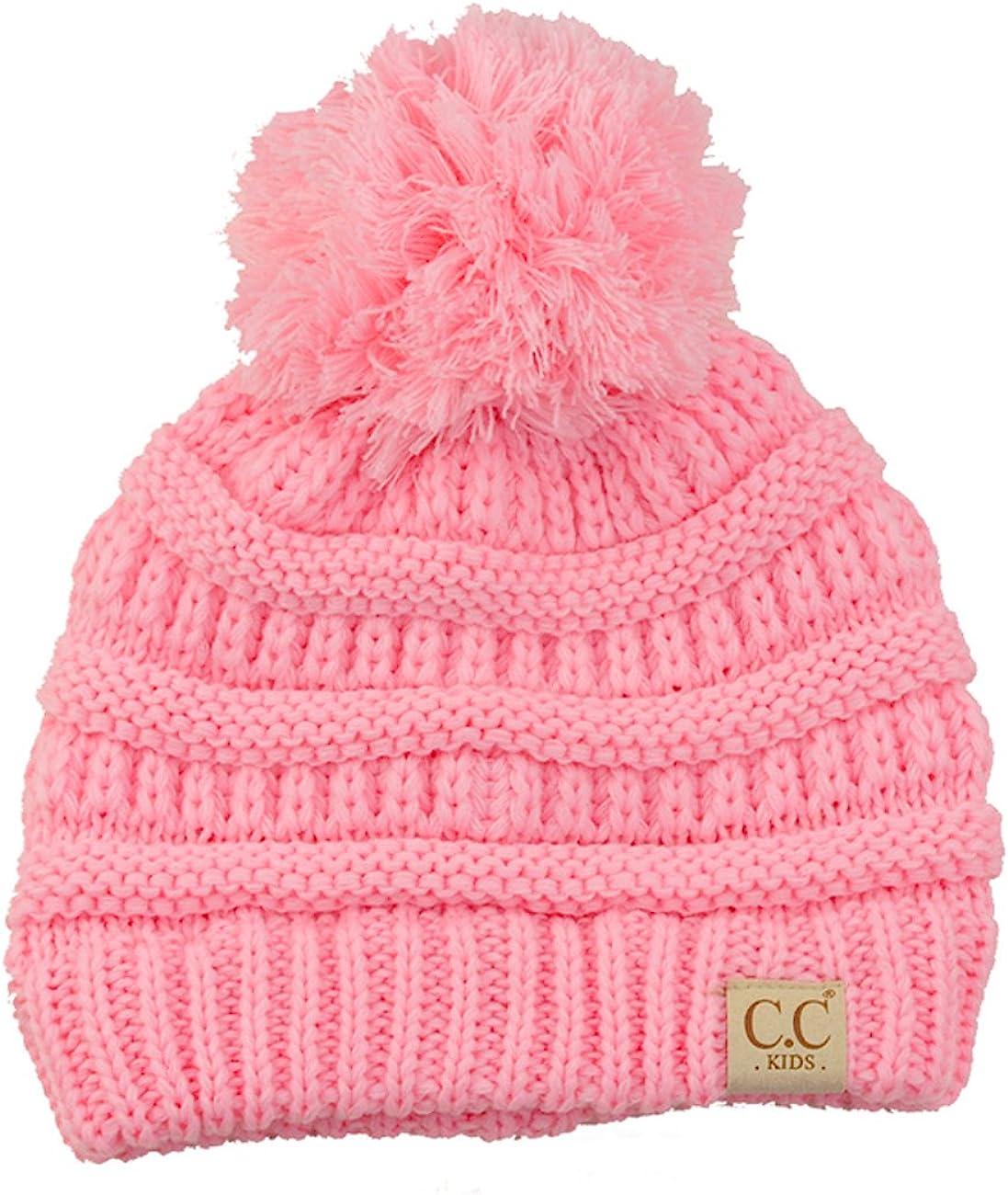 C.C Kids Cute Warm and Comfy Pom Pom Childrens Knit Ski Beanie Hat