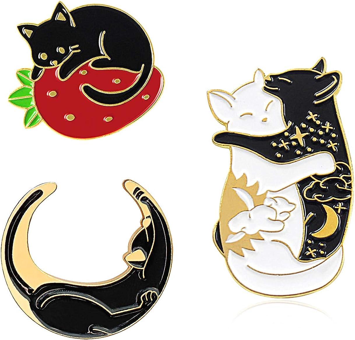 Enamel black cat pin Halloween jewelry Feline lover