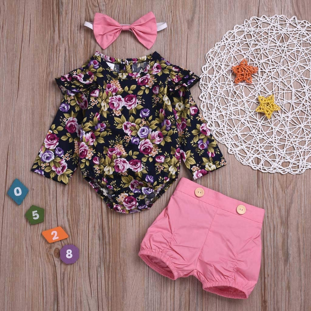 Suma-ma 0-2 Years Infant Baby Girls Floral Print Romper Shorts Headbands Outfits Set Spring Clouthes