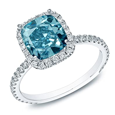 14k Gold Cushion Cut Blue Diamond Halo Engagement Ring 1 1 2 Cttw