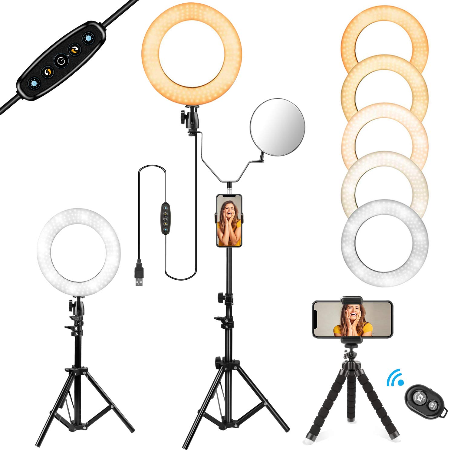 10'' Selfie Ring Light with Stand and Phone Holder for Makeup/Live Stream, Includes a Small Flexible Tripod Stand, Perfect for YouTube Video Shooting/Vlogs/Desktop, Compatible with iPhone Android Phone by KAQINU
