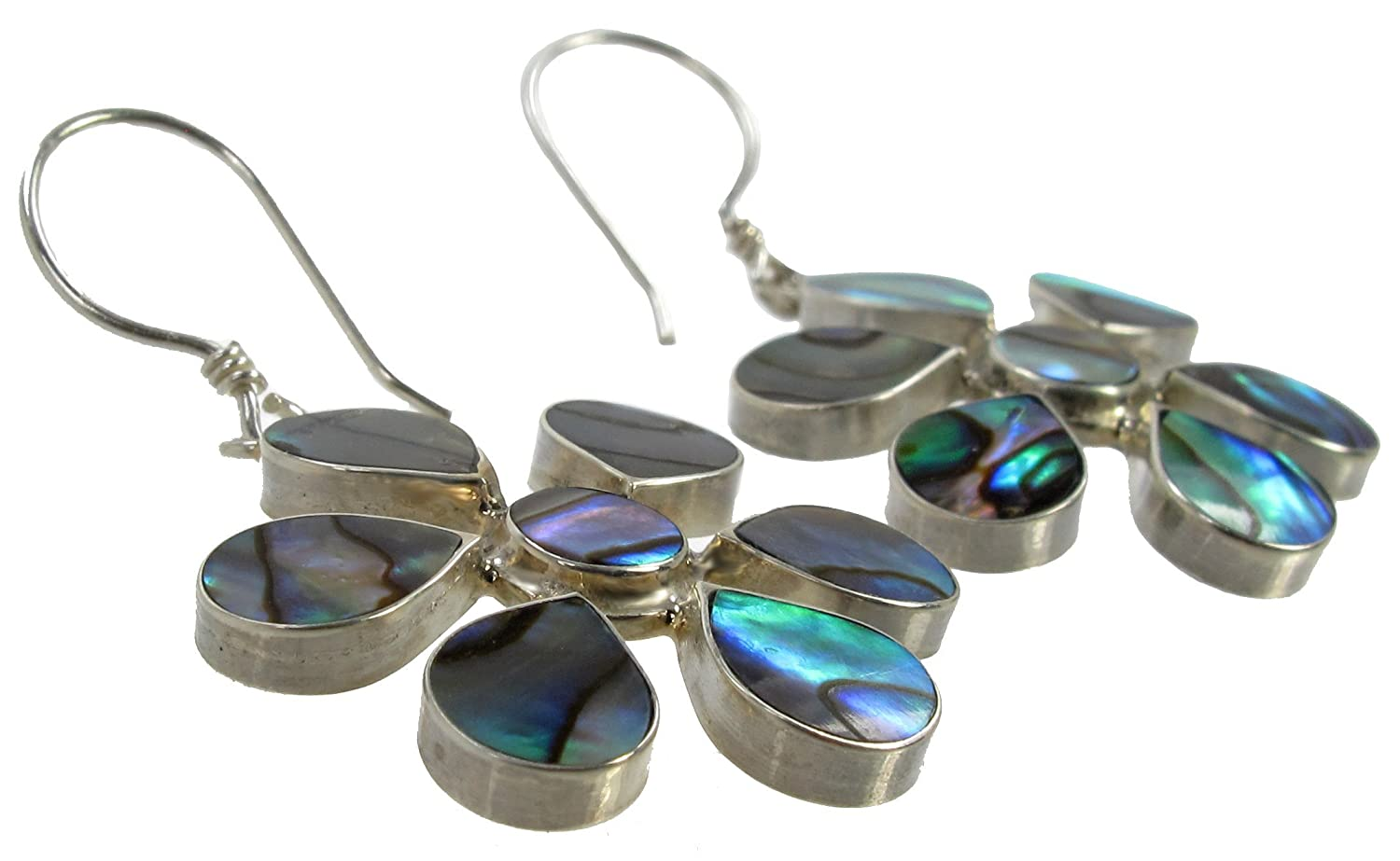 Inlay Flower Drop /& Dangle Hook Earrings 925 Sterling Silver Paua Shell Abalone