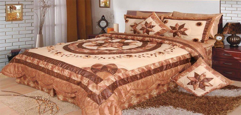 DaDa Bedding Hazelnut Stars Quilt Bedspread Set, Floral Decorative Brown & Crème, Queen, 5-Pieces