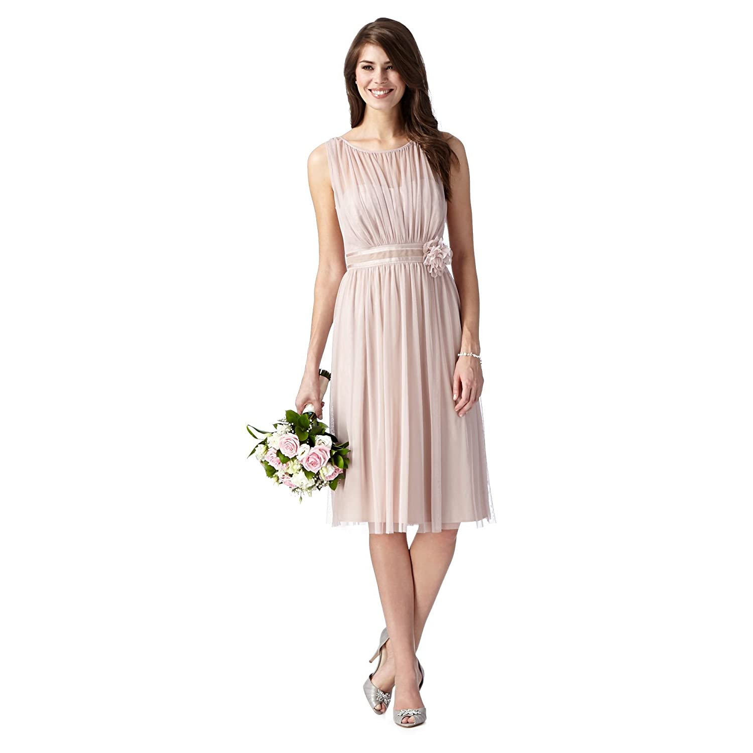 Debut Womens Rose Pink Corsage Detail Dress