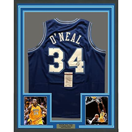 dcd31260c2d FRAMED Autographed/Signed SHAQUILLE SHAQ O'NEAL 33x42 LA Blue Jersey COA -  JSA