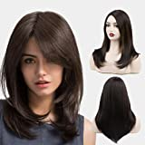 FORCUTEU Medium Length Dark Brown Wig for Women Side Part Layered Shoulder Length Wig Synthetic Natural Looking Heat…