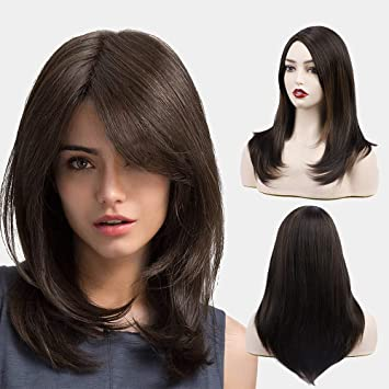 Forcuteu Brown Wigs For Women Medium Length Wig Synthetic Side Part Layered Wig Shoulde Length Women S Wigs Beauty