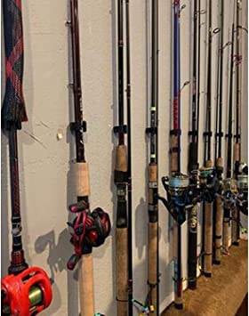 Capacidad para hasta 10 ca/ñas de pesca caba/ña y s/ótano resistente soporte de ca/ña de pescar para garaje Bastidor de almacenamiento de pared para ca/ña de pescar