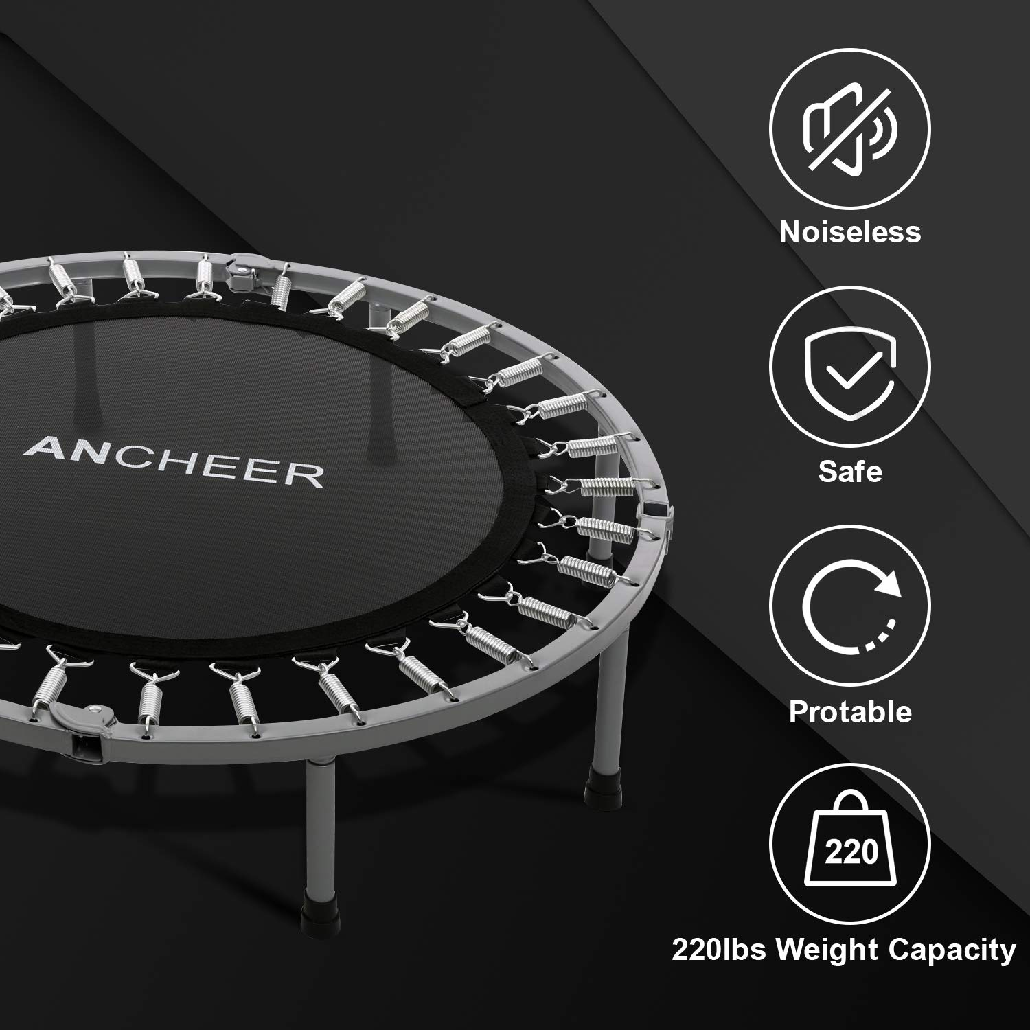 ANCHEER Mini Trampoline with Safety Pad (Blue, 40inch-Not Folding) by ANCHEER (Image #6)