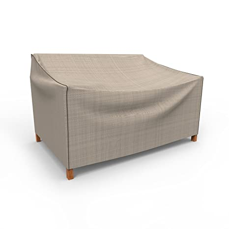 Captivating Budge English Garden Outdoor Patio Loveseat Cover, Small (Tan Tweed)