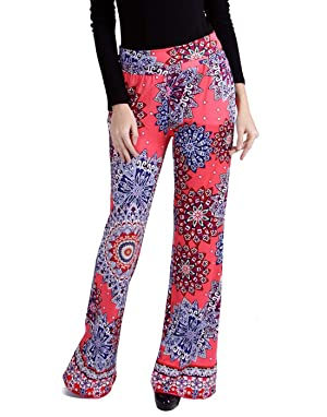HDE Women's Palazzo Pants High Waist Wide Leg Lounge Pants (Hot Pink Mandalas, X-Large)