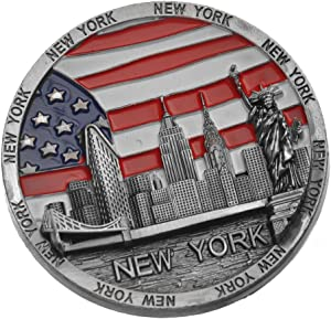 Cirlce US Flag New York Souvenir Metal Fridge Magnet Brooklyn Bridge NYC Statue of Liberty NY Empire State Building NY Skyline Metal Magnet