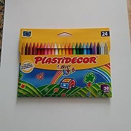 BIC Kids Plastidecor - Estuche de 36 unidades, ceras de colores surtidos - ideal para colorear y dibujar, actividades creatives en casa y colegio: Amazon.es: Oficina y papelería