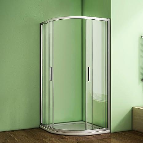 Cuadrante doble puerta corredera 6 mm cristal de seguridad Protector de esquina cubículo de ducha con plato de ducha y residuos, 760x760mm: Amazon.es: Hogar