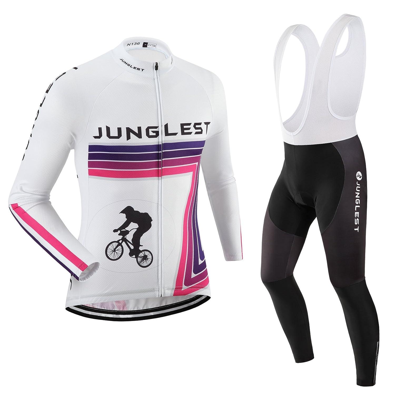 Cycling Jersey Set Wen長袖(S ~ 5 X L、オプション:よだれかけ、3dパッド) n136 B01BUHEKL6  タイプ:セット(フリース&ホワイトビブ) (2.8cm 3D pad)(Chest 50-53inchs)