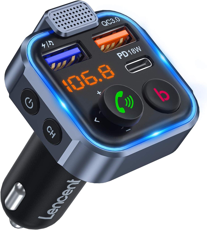 [Versión 2021] LENCENT Transmisor FM Bluetooth 5.0,Manos Libres Reproductor Música Coche, Adaptador Radio Bluetooth 2 USB+Tipo C Carga Rápida, Deep Bass Sonido Hi-Fi, Soporte Disco U