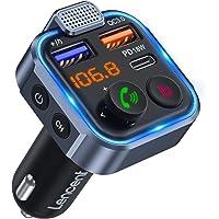 LENCENT FM Sändare Blue FM Sändare Bluetooth V5.0 med Handsfree-samtal Bilradio Adapter Bluetooth bilradioadapter 5 V/2…
