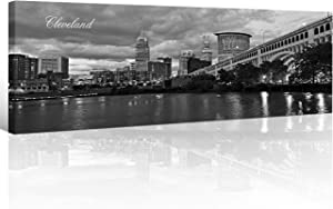TUMOVO Cleveland Skyline Wall Art for Living Room Cityscape Canvas Modern Home Decor Panorama Pictures City Building House Decorations Skyscraper Artwork Black and White Posters and Prints 12x46 Inch