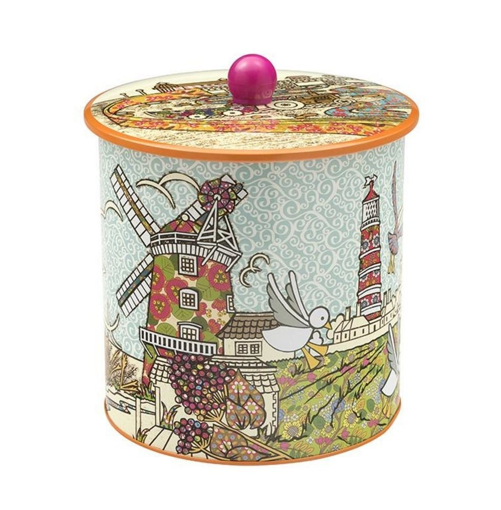 Biscuit Barrel - Coastal Design - 170(d) x 173mm - By Amelia Bowman Elite Tin Gifts