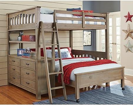 Amazon Com Ne Kids Highlands Solid Wood Full Loft Bed With Desk In Driftwood Furniture Decor