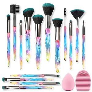 Kingtree Makeup Brushes 15PCS Crystal Makeup Brush Set, Premium Synthetic Bristles Foundation Face Powder Blush Eye Shadow Makeup Brush Kit with Blender Sponge & Brush Cleaner