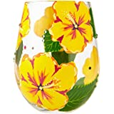 Enesco Designs by Lolita Hand-Painted Artisan, 20 oz. Stemless Wine Glass Hibiscus, Multicolor
