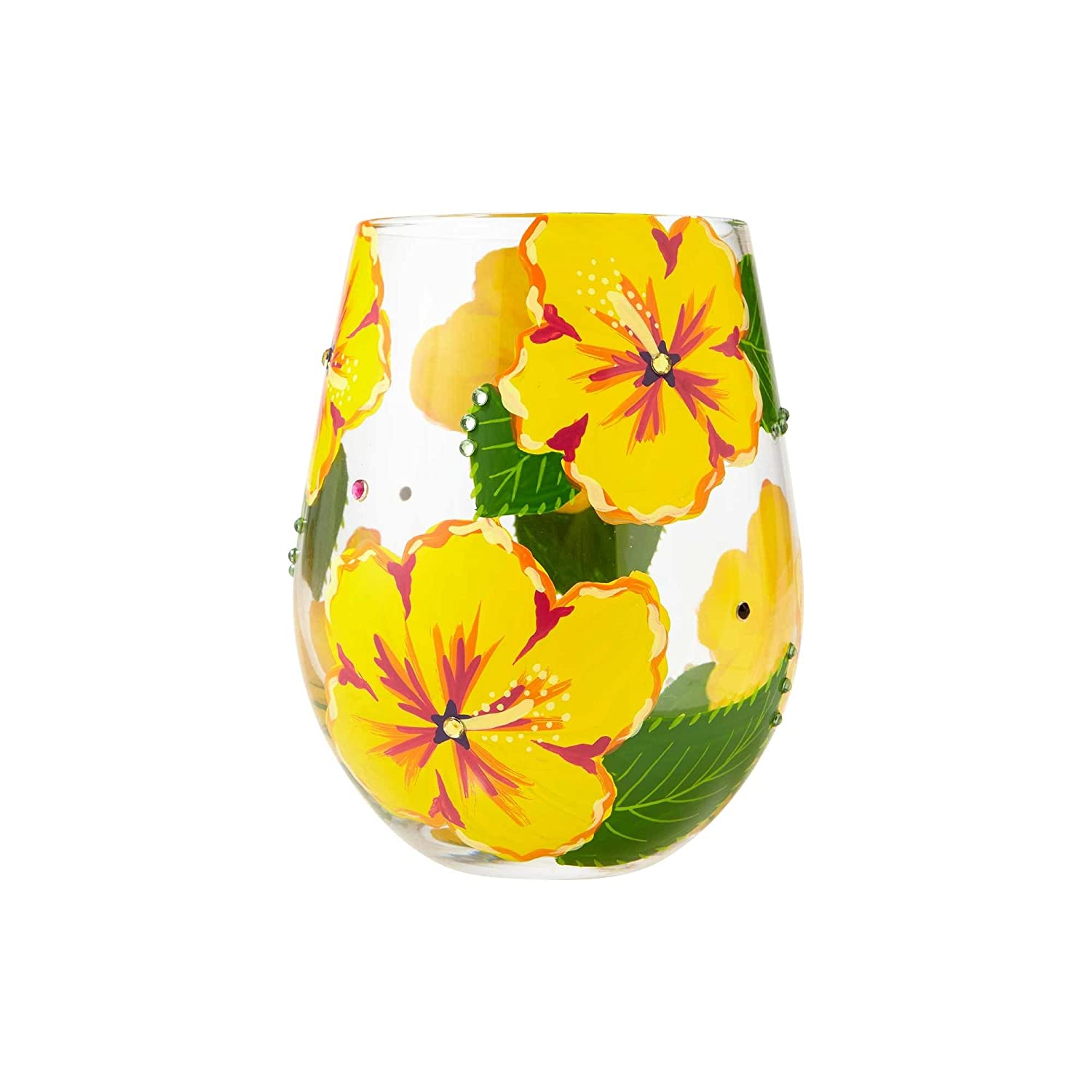 Lolita Hibiscus Stemless Glass, Multi-Colour, 100 x 100 x 125 cm Enesco 6001315