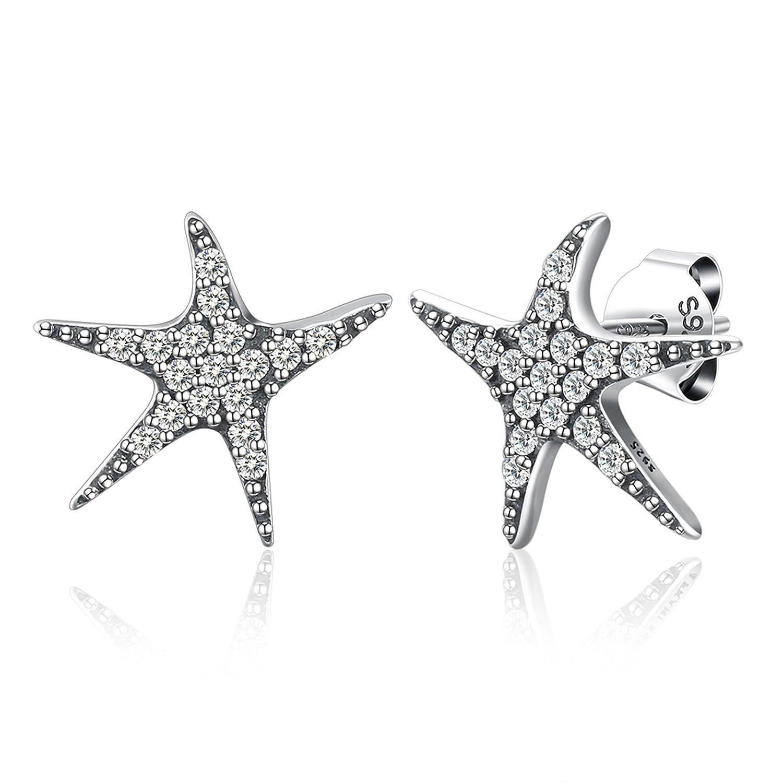 KnSam Sterling Silver Earrings for Women Girls Starfish Crystal Embedded Beach Birthday Jewelry