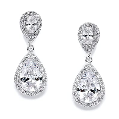 Mariell Cz Teardrop Clip On Wedding Earrings Dainty Pear Shaped Cubic Zirconia Dangle Clip On For Brides