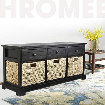 Swell Hromee Entryway Storage Bench With 3 Rattan Basket And Frankydiablos Diy Chair Ideas Frankydiabloscom