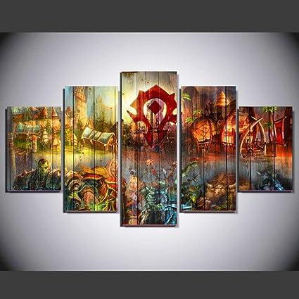 Amazon.com: gearmeeting 5 Panel Game World of Warcraft Modern Home ...