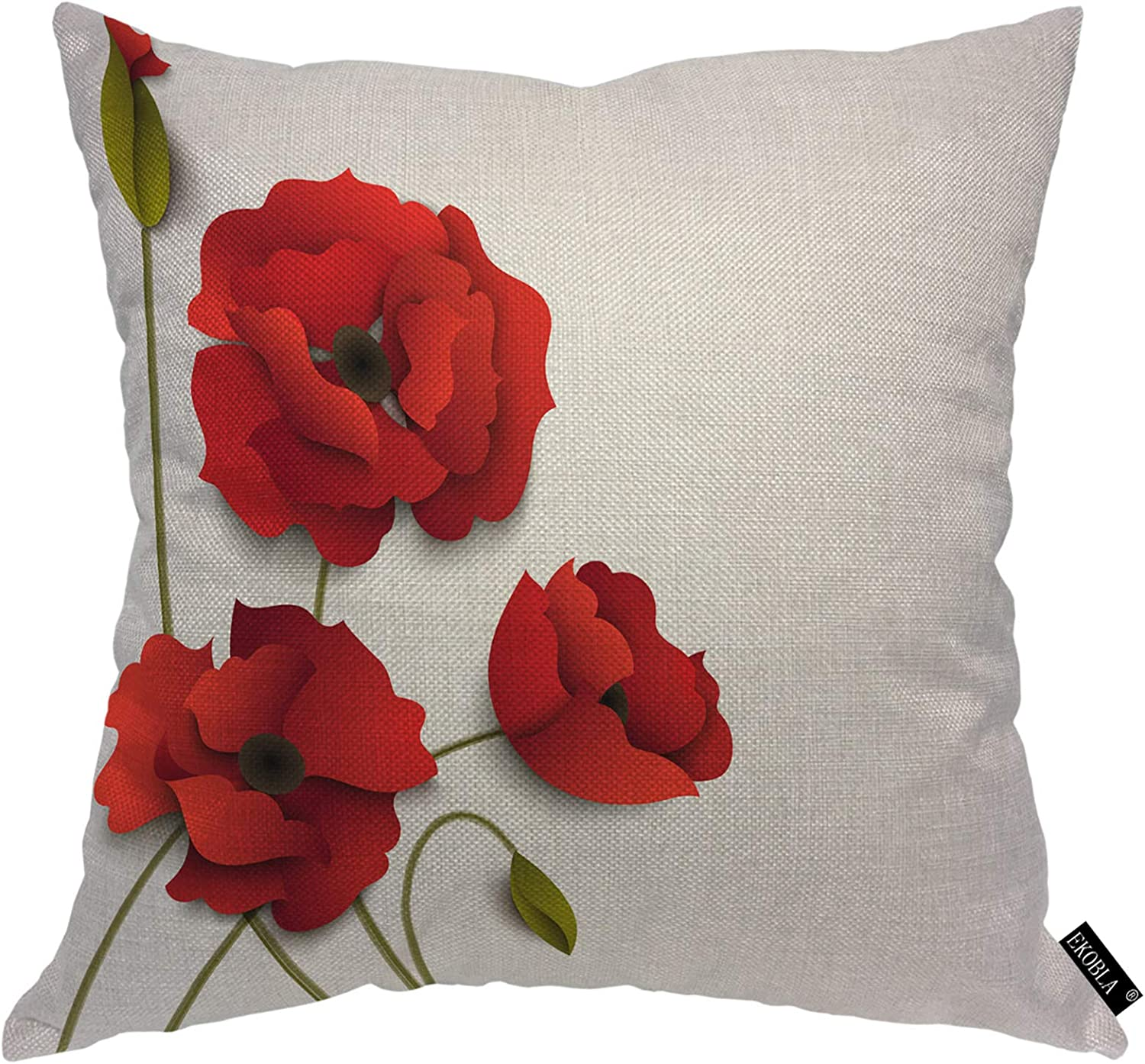EKOBLA Red Poppy Throw Pillow Cover Floral 3D Blooming Leaves Trendy Romantic Spring Summer Valentine Cozy Square Cushion Case for Men Women Boys Girls Room Home Decor Cotton Linen 18x18 Inch