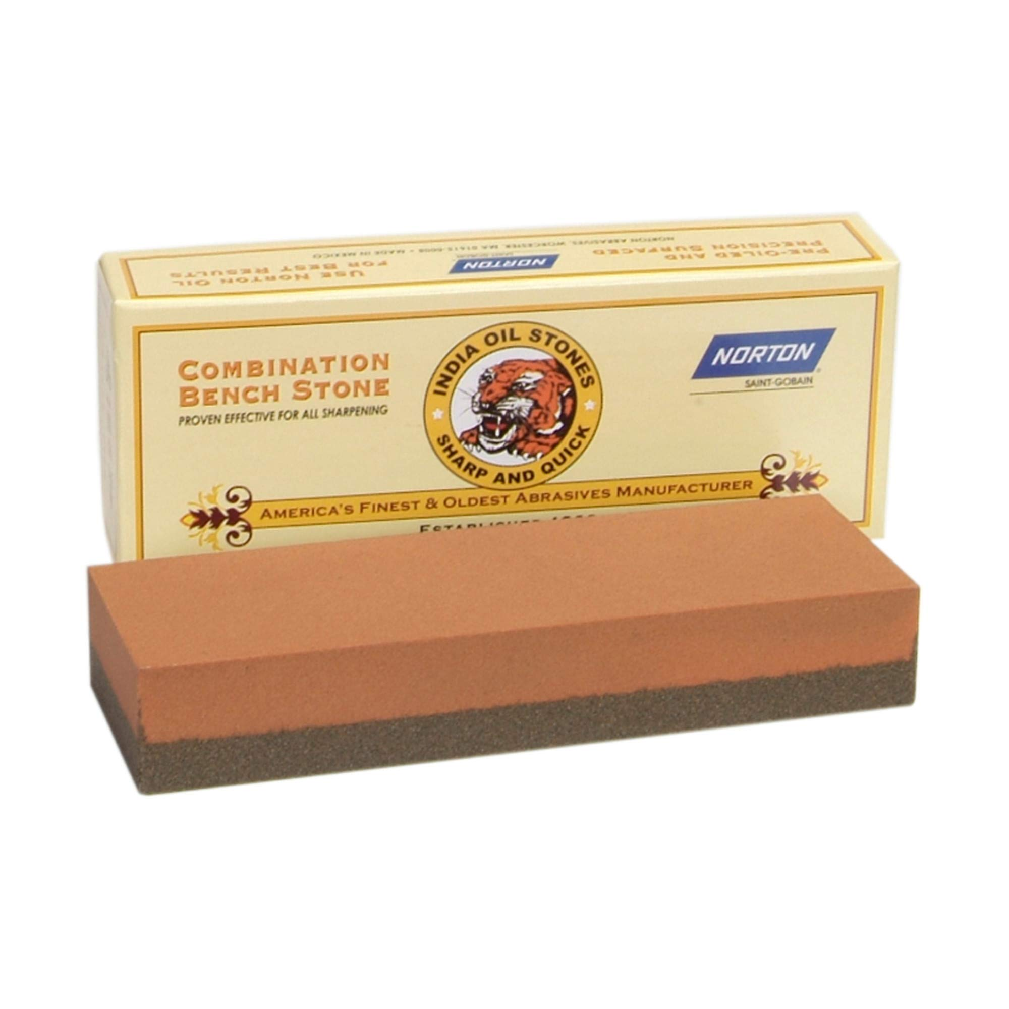 Norton Bench Shape 6 x 2 x 1'' Size 100/320 Micron Grade Coarse/Fine Grit India Sharpening Stone