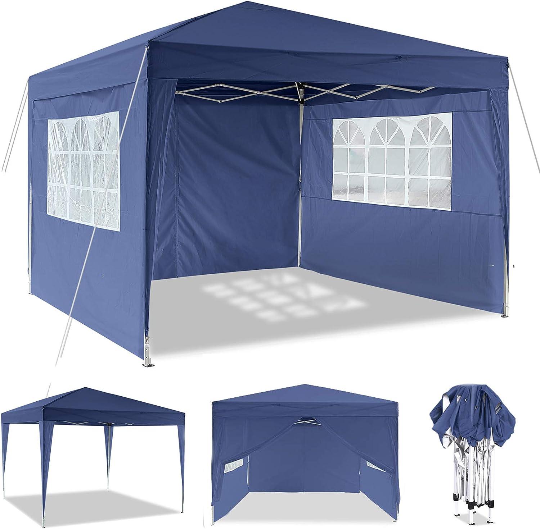 3 x 3 m Cenador, Impermeable Pop Up Cenador para Patio con Paneles Laterales y Bolsa de Almacenamiento para la Boda al Aire Libre Fiesta en el jardín ...