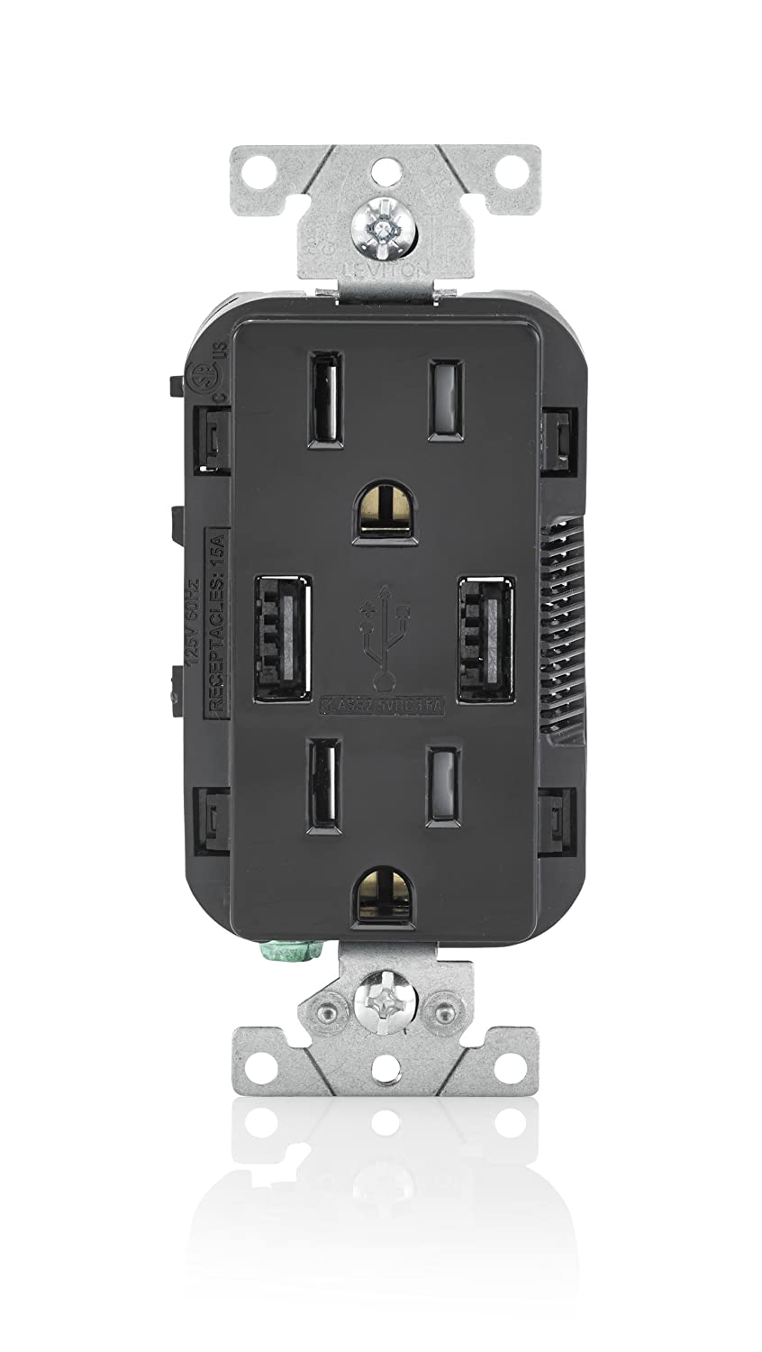 Leviton T5632 E 15 Amp Usb Charger Tamper Resistant Duplex Wiring An Outlet In Middle Of Circuit Receptacle Black