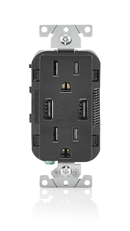 Leviton T5632-E 15-Amp USB Charger/Tamper Resistant Duplex ...