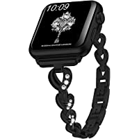 HSY Bling Band Compatible for Apple Watch Band 38mm 40mm Women Rhinestone Stainless Steel Metal Wristband Compatible Series 5 Series 4, Series 3, Series 2, Series 1 Strap Black