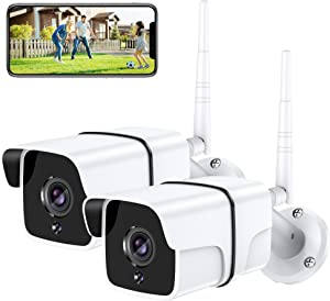 Security Camera Outdoor, Yamla 1080P WiFi Home Security Surveillance Camera Works with Alexa, IP66 Waterproof, IP Remote Smart Camera, IR Night Vision Motion Detection Real Alert 2-Way Audio 2PCS