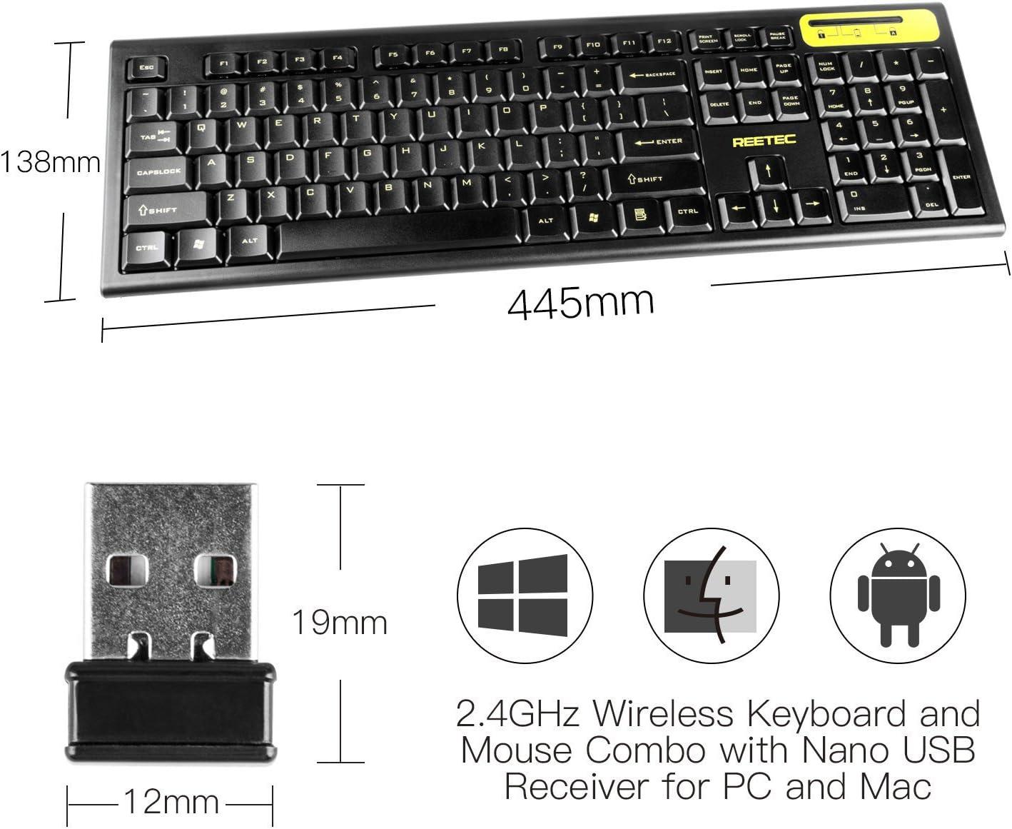 reetec compacto de tamaño completo teclado inalámbrico de 2,4 GHz y ratón Combo Set para PC portátil del MAC Tablet