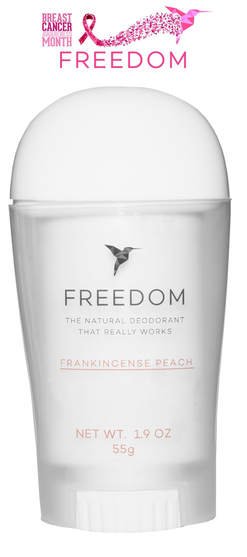 Freedom All Natural Deodorant Aluminum Free Odor Protection Tested & Loved by Cancer Survivors, Busy Execs, Military Personnel, Athletes, Healthy Moms & Kids - Frankincense Peach 1.9 oz