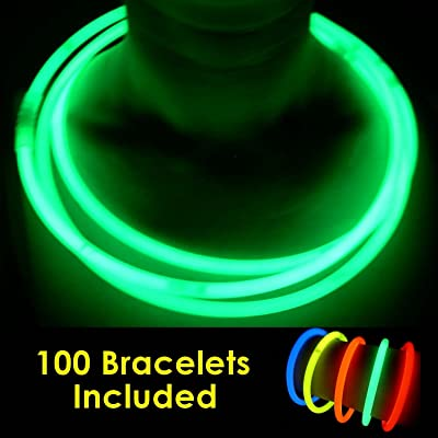 "100 Glow Sticks Bulk Wholesale Necklaces, 22"" Green Glow Stick Necklaces +100 FREE Glow Bracelets! Bright Color, Glow 8-12 Hrs, Connector Pre-attached(Time Saver), Sturdy Packaging, GlowWithUs Brand"