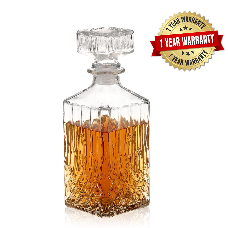 Nakcase Whiskey Decanter Liquor Lead Free Glass alcoho Decanter crystal 750ml
