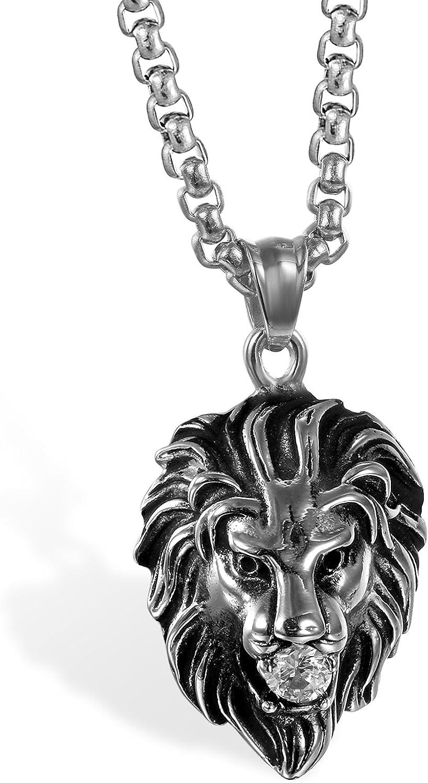 JewelryWe Collier Pendentif Homme T/ête de Lion Pierre de Zircon Cha/îne 56cm Acier Inoxydable Fantaisie Couleur Noir Argent avec Sac Cadeau