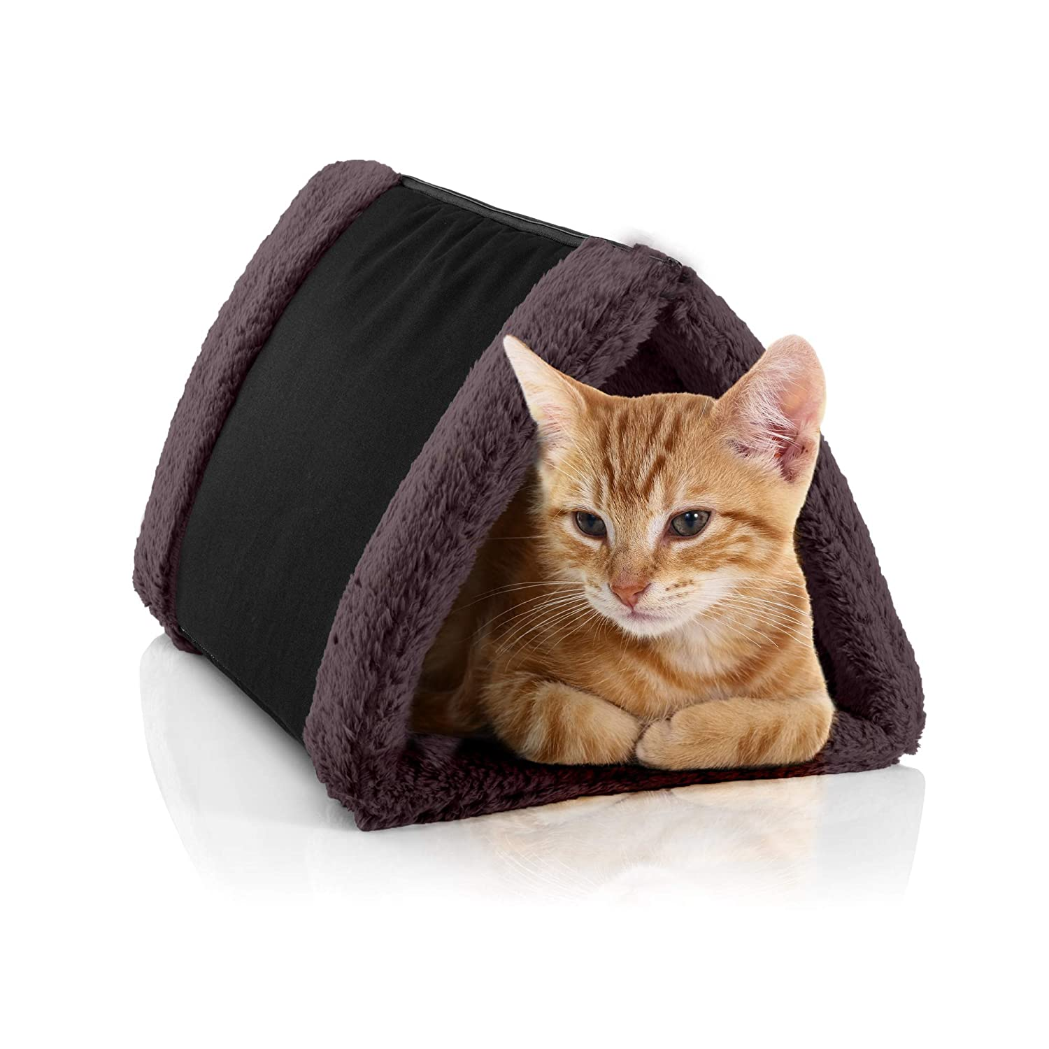 Petslover Cat Bed Cave House Bed Best For Indoor Cats Houses Heated Kitten Warm Pet Self Warming W Hoods Caves Igloo Covered Pod Felted Faux Felt Wool Cocoon Adult Cat Black Amazon In
