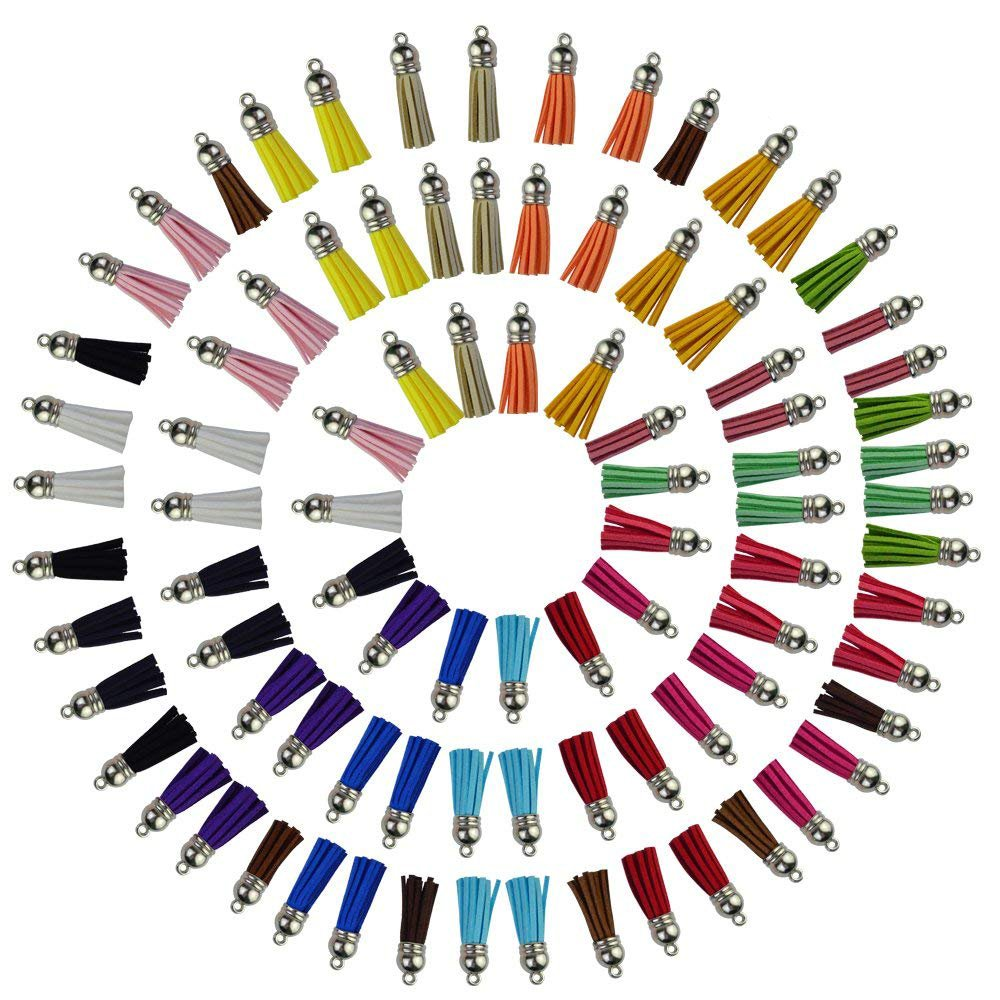 100 Packs Tassel Pendants, Bantoye 40mm Leather Suede Tassel with Caps for Jewelry Making Findings, Key Chain Straps, 20 Random Colors