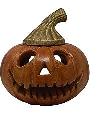 Calabaza Linterna - Cara Tenebrosa Ovalada - Linterna para interior y exterior - Halloween - Barro Artesanal