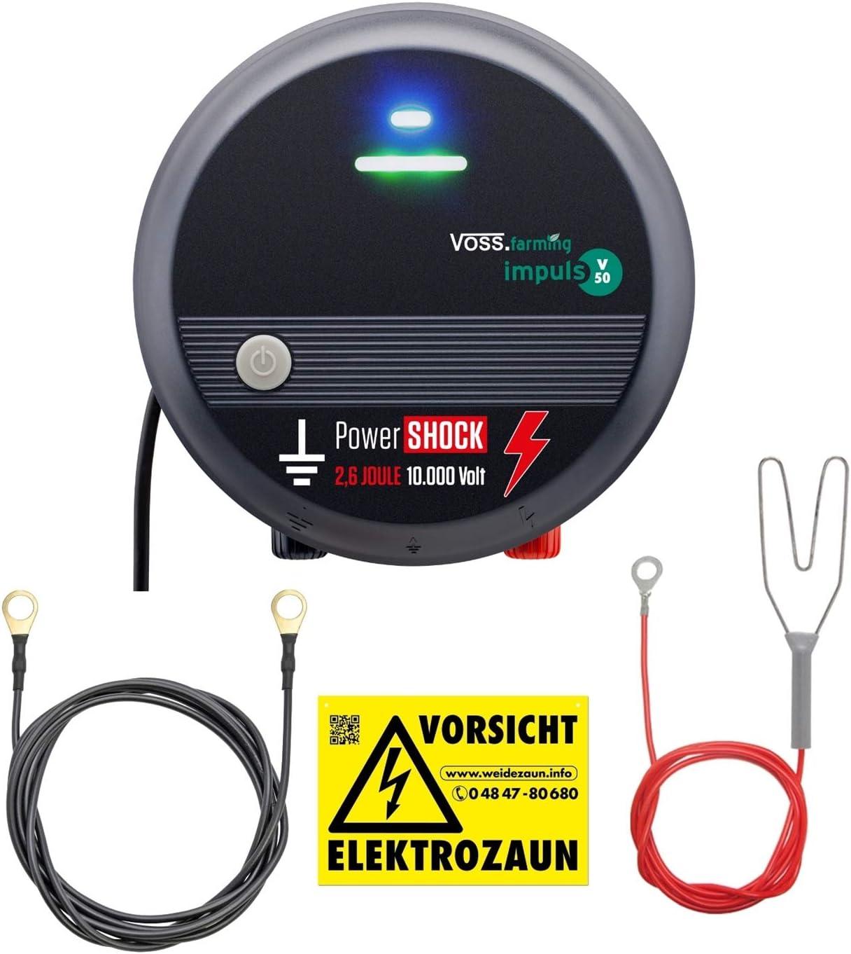 VOSS.farming Pastor eléctrico V50, Electrificador de cercados 230V, para Caballos, Ganado Vacuno y Animales de establo