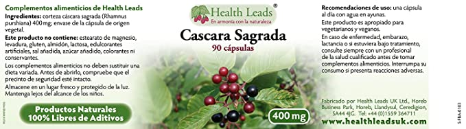 Corteza Cáscara Sagrada 400mg x 90 cápsulas: Amazon.es: Salud y cuidado personal