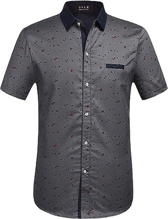 SSLR Camisa Manga Corta Estampada de Algodón Casual para Verano de Hombre