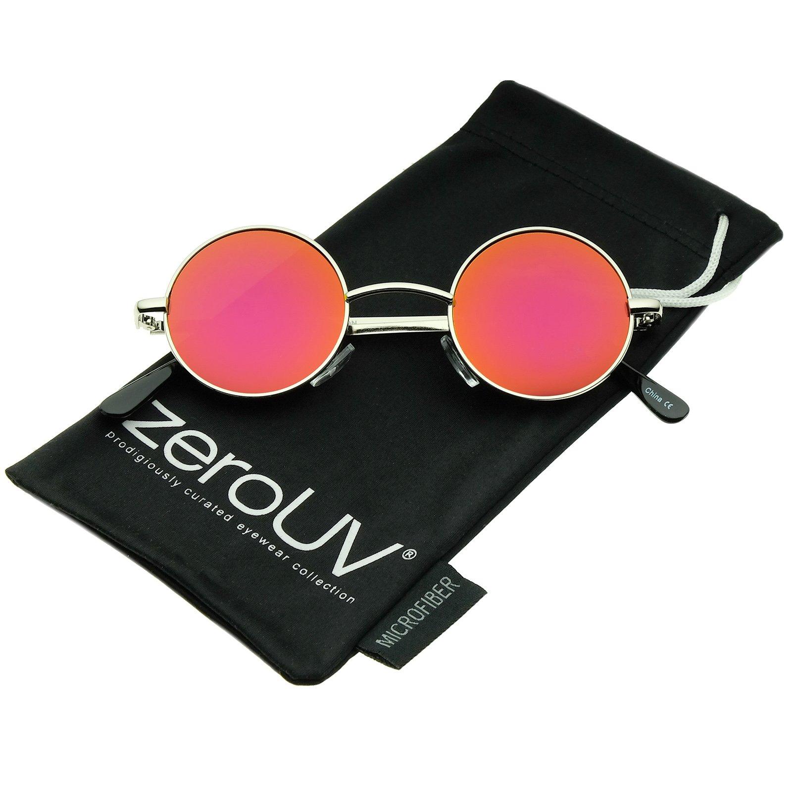 Small Retro Lennon Style Colored Mirror Lens Round Metal Sunglasses 41mm (Silver/Magenta-Orange Mirror)